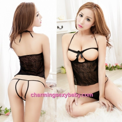 Sexy Lingerie Black Open Breast Halter Top + G-String Costume Sleepwear MM5553