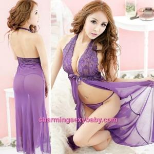 Sexy Lingerie Purple Halter Lace Babydoll Long Dress + G-String Sleepwear MM5558