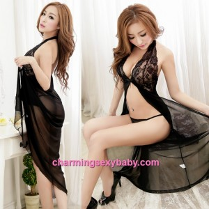 Sexy Lingerie Black Halter Lace Babydoll Long Dress + G-String Sleepwear MM5566