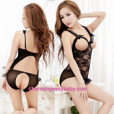 Sexy Lingerie Black Lace See-Through Open Breast Open Crotch Teddies Sleepwear MM5569