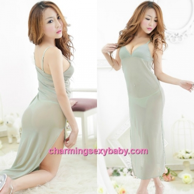 Sexy Lingerie Green Sling See-Through Babydoll Long Dress + G-String Sleepwear MM5574