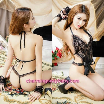 Sexy Lingerie Black Lace Teddies + Handcuffs Bodysuit Sleepwear Nightwear MM5580