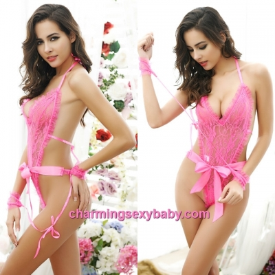 Sexy Lingerie Rose-Red Lace Teddies + Handcuffs Sleepwear Nightwear MM5580