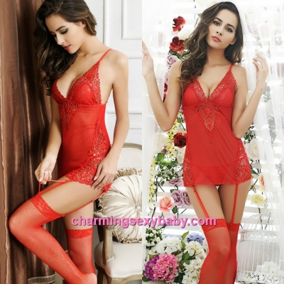 Sexy Lingerie Red Deep V See-Through Dress + Garter Belts + G-String Sleepwear MM6604