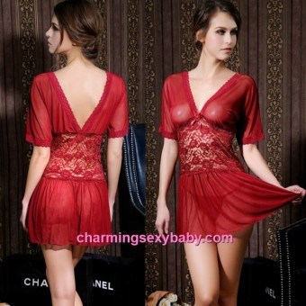 Sexy Lingerie Lace Deep V See-Through Dress Nightwear Sleepwear MM6610