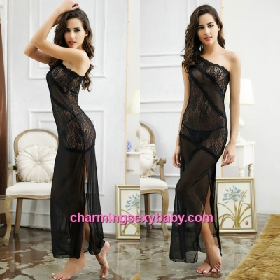 Sexy Lingerie Black See-Through Sloping Shoulder Long Dress Sleepwear MM6622