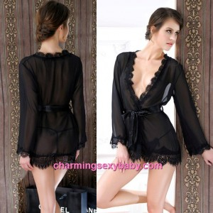 Sexy Lingerie Black Transparent Robes + G-String Sleepwear Pajamas MM6631