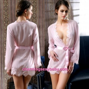 Sexy Lingerie Pink Transparent Robes + G-String Sleepwear Pajamas MM6631