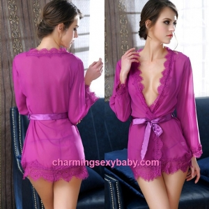 Sexy Lingerie Purple Transparent Robes + G-String Sleepwear Pajamas MM6631