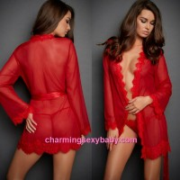 Sexy Lingerie Red Transparent Robes + G-String Sleepwear Pajamas MM6631