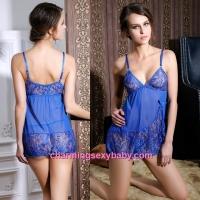 Sexy Lingerie Blue Lace Sling Low-Cut Dress + G-String Sleepwear MM6640