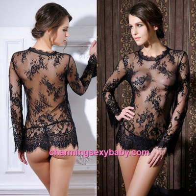 Sexy Lingerie Black Long Sleeve Short Dress + G-String Sleepwear MM6645