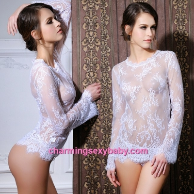 Sexy Lingerie White Long Sleeve Short Dress + G-String Sleepwear MM6645