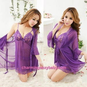 Sexy Lingerie Purple Sling Low-Cut Dress + G-String + Robes Sleepwear Nightwear MM6676