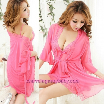 Sexy Lingerie Rose-Red Sling Low-Cut Dress + G-String + Robes Nightwear Sleepwear MM6676