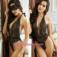 Sexy Lingerie Black Lace Deep V Teddies + Eye Mask Nightwear Sleepwear MM6679