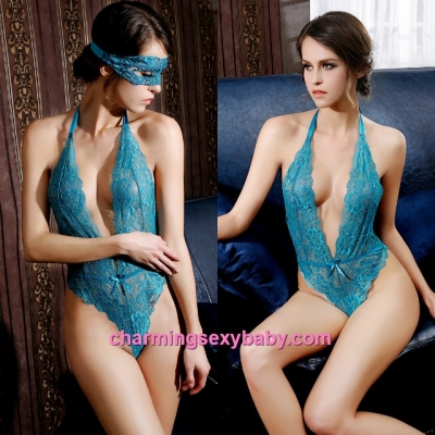 Sexy Lingerie Blue Lace Deep V Teddies + Eye Mask Sleepwear Nightwear MM6679