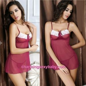 Sexy Lingerie Burgundy Sling Low-Cut Dress + G-String Sleepwear MM6682