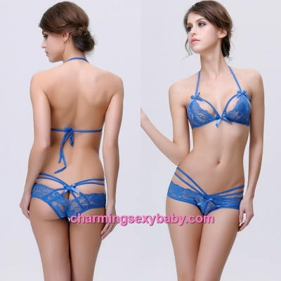 Sexy Lingerie Blue Lace Bikini Outfits Bra + Panties Sleepwear MM6684
