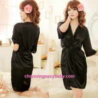 Sexy Lingerie Black Satin Robes Nightwear Sleepwear Pajamas MM7055