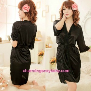 Sexy Lingerie Black Satin Robes Nightwear Sleepwear Pajamas MM7055