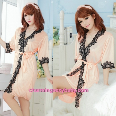 Sexy Lingerie Light Orange Satin Robes Sleepwear Nightwear Pajamas MM7055