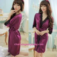Sexy Lingerie Purple Satin Robes Pyjamas Sleepwear Nightwear MM7055