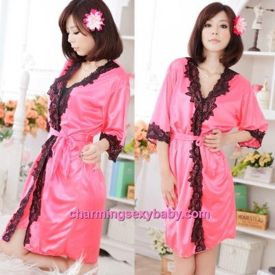 Sexy Lingerie Watermelon-Red Satin Robes Pyjamas Sleepwear Nightwear MM7055