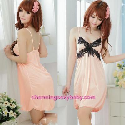 Sexy Lingerie Orange Satin Sling Babydoll Dress + G-String Sleepwear MM705505