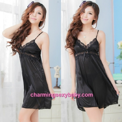Sexy Lingerie Black Satin Sling Babydoll Dress + G-String Sleepwear MM705507