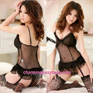 Sexy Lingerie Black Corset  + Garter Belt + Open Crotch Panties Sleepwear MM7061