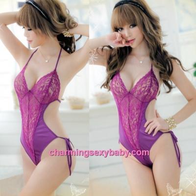 Sexy Lingerie Purple Lace Satin Sheer Thong Teddies Sleepwear Nightwear MM7078
