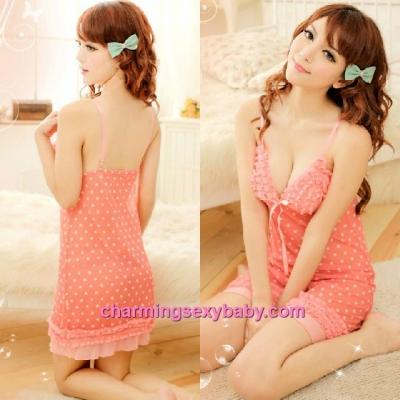 Sexy Lingerie Orange Sling Low-Cut Babydoll Dress + G-String Sleepwear MM8961
