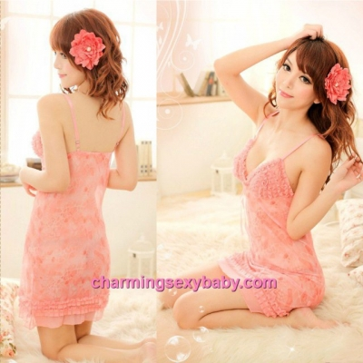 Sexy Lingerie Sling Low-Cut Babydoll Dress + G-String Sleepwear MM8963