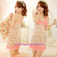 Sexy Lingerie Floral Print Sling Low-Cut Babydoll Dress + G-String Sleepwear MM8969