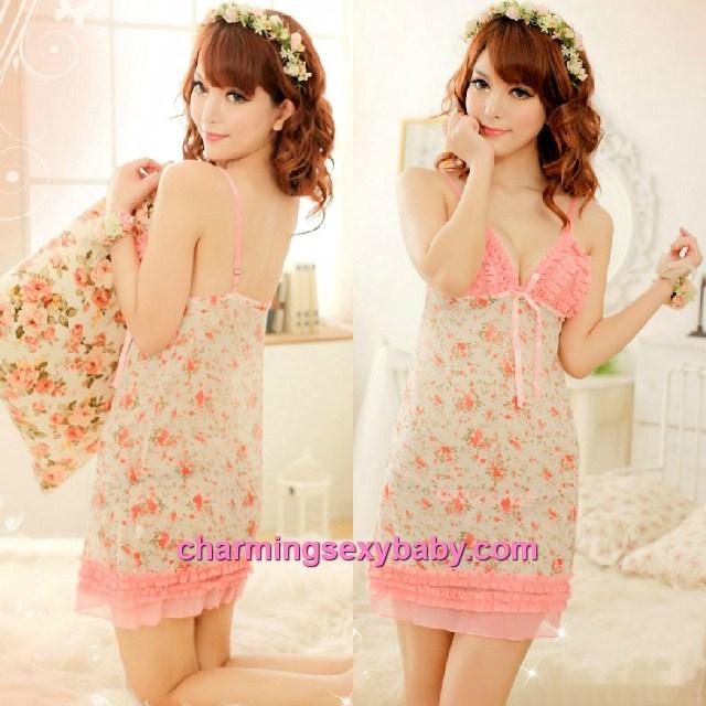 Sexy Lingerie Floral Print Sling Low-Cut Babydoll Dress + G-String Sleepwear MM8969