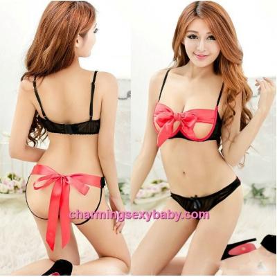 Sexy Lingerie Ribbon Black Open Breast Bra + Panties Bikini Set Sleepwear MM9913