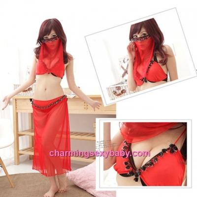 Sexy Lingerie Red Bra + Skirt + G-String + Mask Costume Sleepwear QQ001