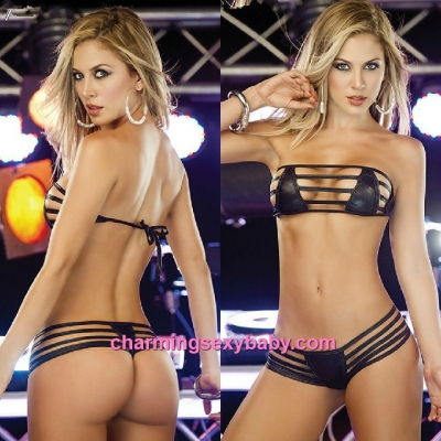Sexy Lingerie Black Coat of Paint Bikini Outfits Bra + Panties Sleepwear QQ009