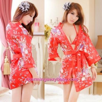 Sexy Lingerie Japanese Kimono Robes + Bra + G-String Sleepwear Costume Cosplay QQ013