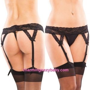 Sexy Women Lace Stocking Garter Suspender Belts with G-String Lingerie QQ302