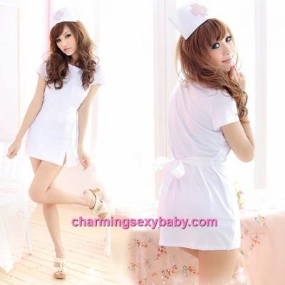 Sexy Lingerie White Nurse Uniform Cosplay Costume Nightwear Sleepwear QQ8028