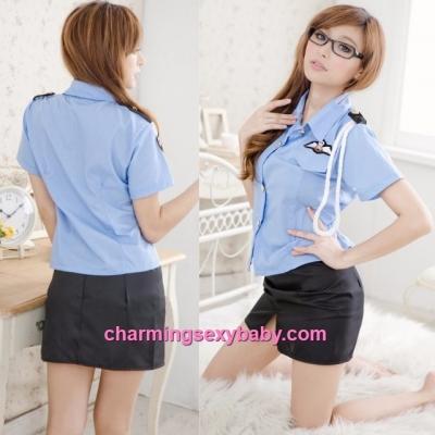 Sexy Lingerie Police Officer Uniform Cosplay Costume Nightwear Sleepwear Q8059