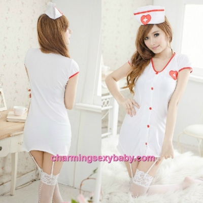 Sexy Lingerie White Nurse Uniform + Garter Belts Costume Cosplay Nightwear Sleepwear QQ8063