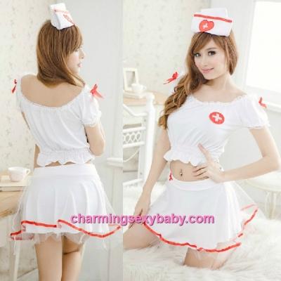 Sexy Lingerie White Nurse Uniform Top + Skirt Costume Cosplay Nightwear Sleepwear QQ8064