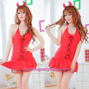 Sexy Lingerie Devil Girl Cosplay Costume Party Dress Christmas Nightwear QQ8124