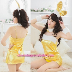 Sexy Lingerie Christmas Golden Rabbit Girl Cosplay Costume Party Dress Nightwear