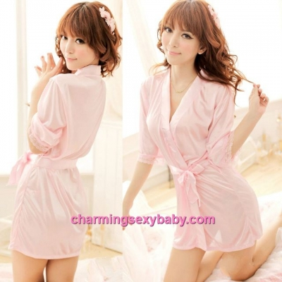 Sexy Lingerie Pink Satin Pyjamas Sleepwear Robes + G-String Nightwear WW7039