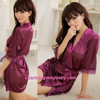 Sexy Lingerie Purple Satin Pyjamas Sleepwear Robes + G-String Nightwear WW7039