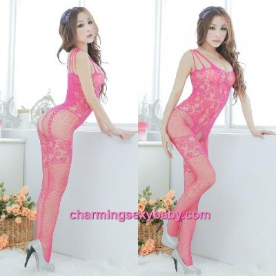 Sexy Fishnet Body Stocking Suit Rose-Red Open Crotch Hosiery Lingerie Sleepwear WWL15